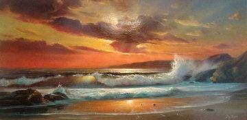 Sunset 1972 Oil on Wood 18x36 Original Painting by William DeShazo
