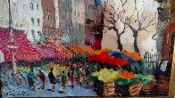 Paris Street Scene 1990 18x22 Original Painting by Gaston De Vel - 2