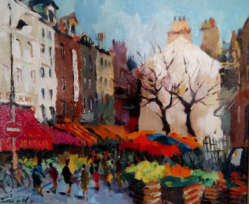 Paris Street Scene 1990 18x22 Original Painting - Gaston De Vel