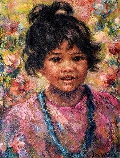 My Blue Beads 1980 24x20 Original Painting - Lisette De Winne