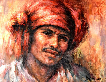 Asian Man 1980 20x24 Original Painting - Lisette De Winne