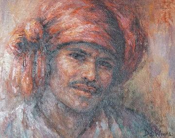 Asian Man 1980 20x24 Original Painting - Lisette De Winne