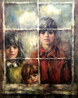 At the Window 1970 38x32 Original Painting by Lisette De Winne