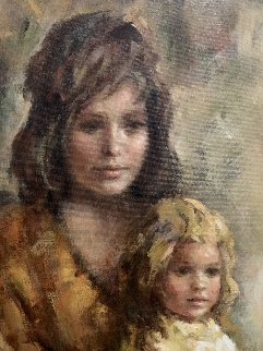 Mother and Child 51x41 Super Huge Original Painting - Lisette De Winne