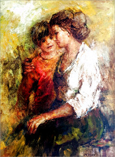 Mother and Son 46x36 Super Huge Original Painting - Lisette De Winne