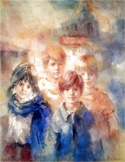 Village Children At the Mission 1970 47x41 Super Huge Original Painting - Lisette De Winne