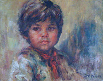 Untitled Portrait of a Boy 1980 19x23 Original Painting - Lisette De Winne
