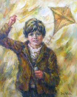 Boy with a Kite 1974 34x29 Original Painting by Lisette De Winne