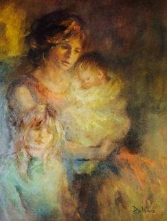 Untitled Woman and Children 1975 44x37 Huge  Original Painting - Lisette De Winne