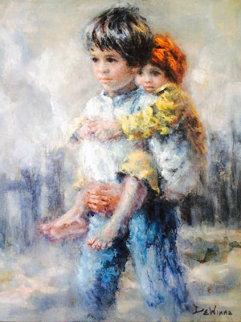 Untitled Children 1990 Original Painting by Lisette De Winne
