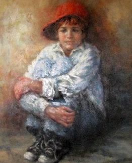 Pensive Moment 39x33 Huge Original Painting - Lisette De Winne