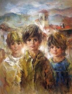 Group 36x28 Original Painting - Lisette De Winne