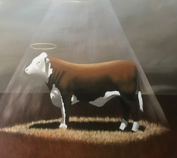 Holy Cow 58x58 Super Huge Original Painting - Robert Deyber