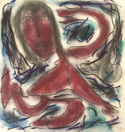 Red Woman 1980 13x14 Works on Paper (not prints) by Thornton Dial