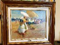 Beach Scene 1996 27x24 Original Painting by Ventura Diaz - 1
