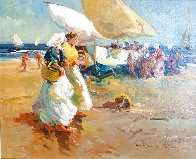 Beach Scene 1996 27x24 Original Painting by Ventura Diaz - 0