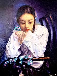 Untitled Portrait of a Girl 51x43 Super Huge Original Painting - Di Li Feng