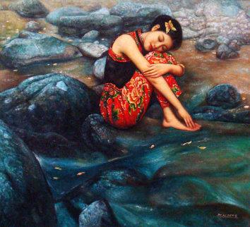 River Rain 46x50 Huge Original Painting - Di Li Feng