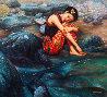 River Rain 46x50 Original Painting by Di Li Feng - 0