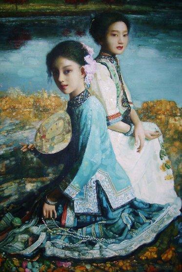 Untitled Asian Girls 2002 55x42 Original Painting by Di Li Feng