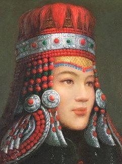 Untitled Portrait 2002 28x25 Original Painting - Di Li Feng