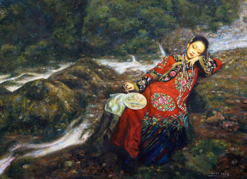 Girl With Fan 49x63 Original Painting - Di Li Feng