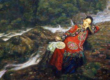Girl With Fan 49x63 Huge Original Painting - Di Li Feng