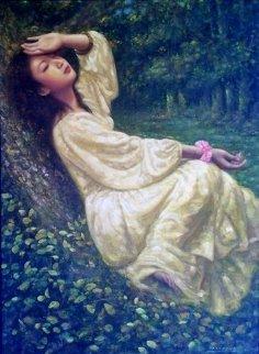 Untitled Asian Lady 62x49 Huge Original Painting - Di Li Feng