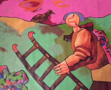I Bird Which Doesn't Match the Ladder 1997 44x50 Super Huge Original Painting - Dimitri Strizhov