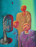 Musician with French Horn 2003 54x48 Super Huge Original Painting by Dimitri Strizhov - 0