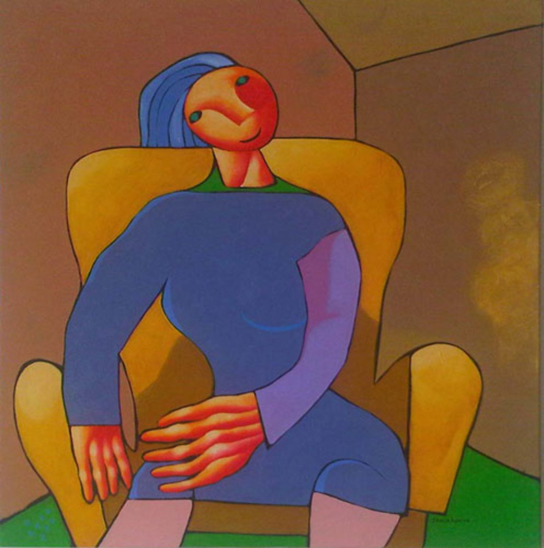 Portrait of Precise Woman 2006 43x37 Super Huge Original Painting by Dimitri Strizhov
