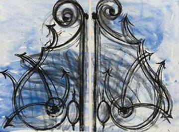 Blue Detail From the Crommelynck Gate 1982  Huge Limited Edition Print - Jim Dine