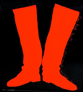 Two Red Boots on a Black  Background Poster 1965 Limited Edition Print - Jim Dine