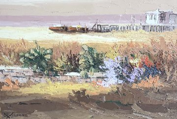 Untitled Landscape 1971 31x38 Original Painting by Antonio Di Viccaro