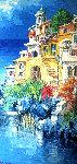 Positano 1971 58x34 Original Painting - Antonio Di Viccaro