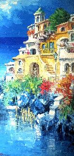 Positano 1971 58x34 Original Painting by Antonio Di Viccaro