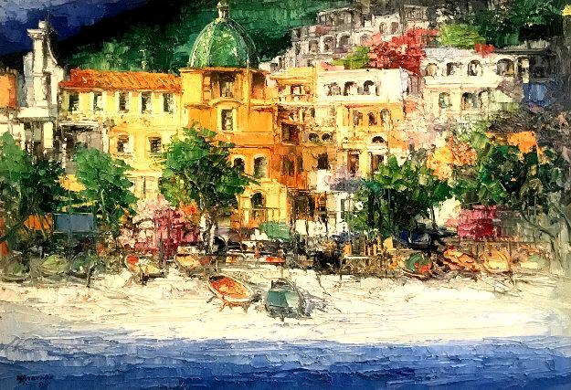 Positano 1971 42x57 Original Painting by Antonio Di Viccaro