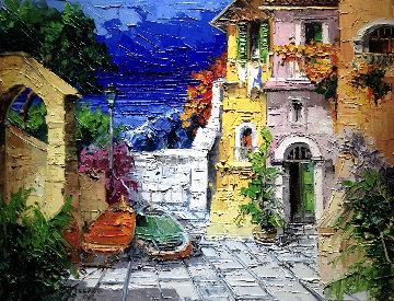 Barche Nel Vicolo 1971 39x50 Original Painting - Antonio Di Viccaro