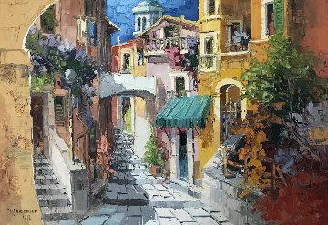 Coloring Mel Vicolo 1971 38x50 Original Painting - Antonio Di Viccaro