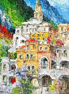 Amalfi 1971 51x39 Huge Original Painting - Antonio Di Viccaro