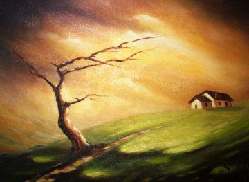 I Due Solitari Fietta Sauro 1963 19x13 Original Painting - Antonio Di Viccaro