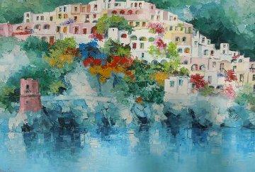 L'Atturo Di Positano, Italy 53x72 Original Painting - Antonio Di Viccaro
