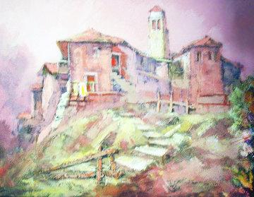 Landscape  1969 27x19 Original Painting - Antonio Di Viccaro