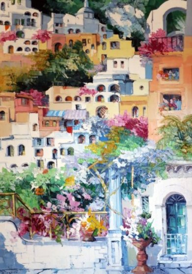 Positano Colori, Italy 1995 55x39 Original Painting by Antonio Di Viccaro