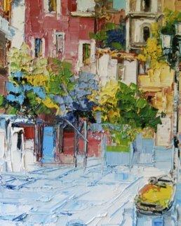 Positano, Italy 1971 35x27 Original Painting by Antonio Di Viccaro