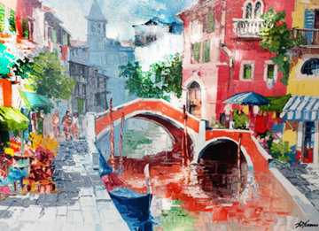 Venice Flowers By the Canal (Italy) Limited Edition Print - Antonio Di Viccaro