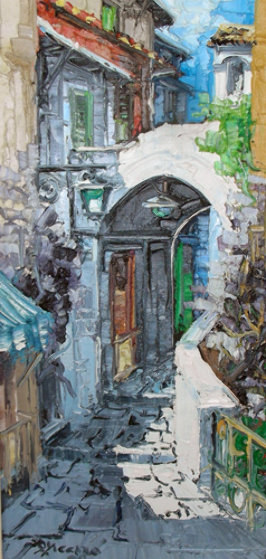 Luci Sull'arco 1971 34x22 Original Painting by Antonio Di Viccaro