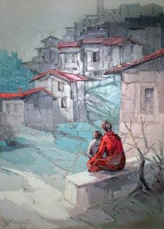 Paesaggio 1981 36x28 Original Painting - Antonio Di Viccaro