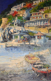Sunset At Village By the Sea 2005 45x32  Original Painting - Antonio Di Viccaro