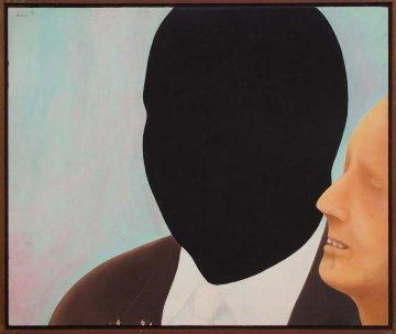 Black White Heads 1967 29x34 Original Painting - Willard Dixon